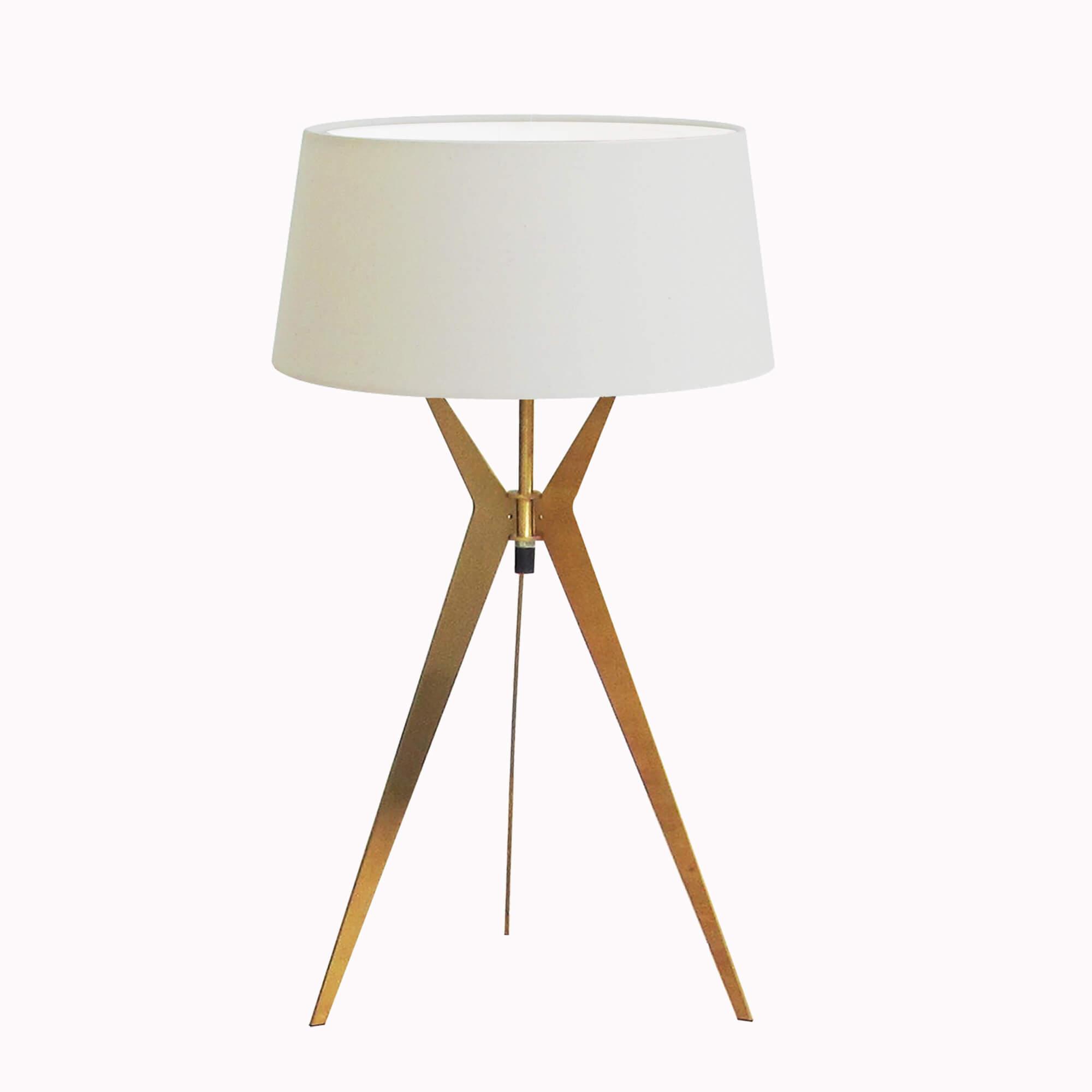 Đèn ngủ để bàn Resta chân màu gold, chụp trắng