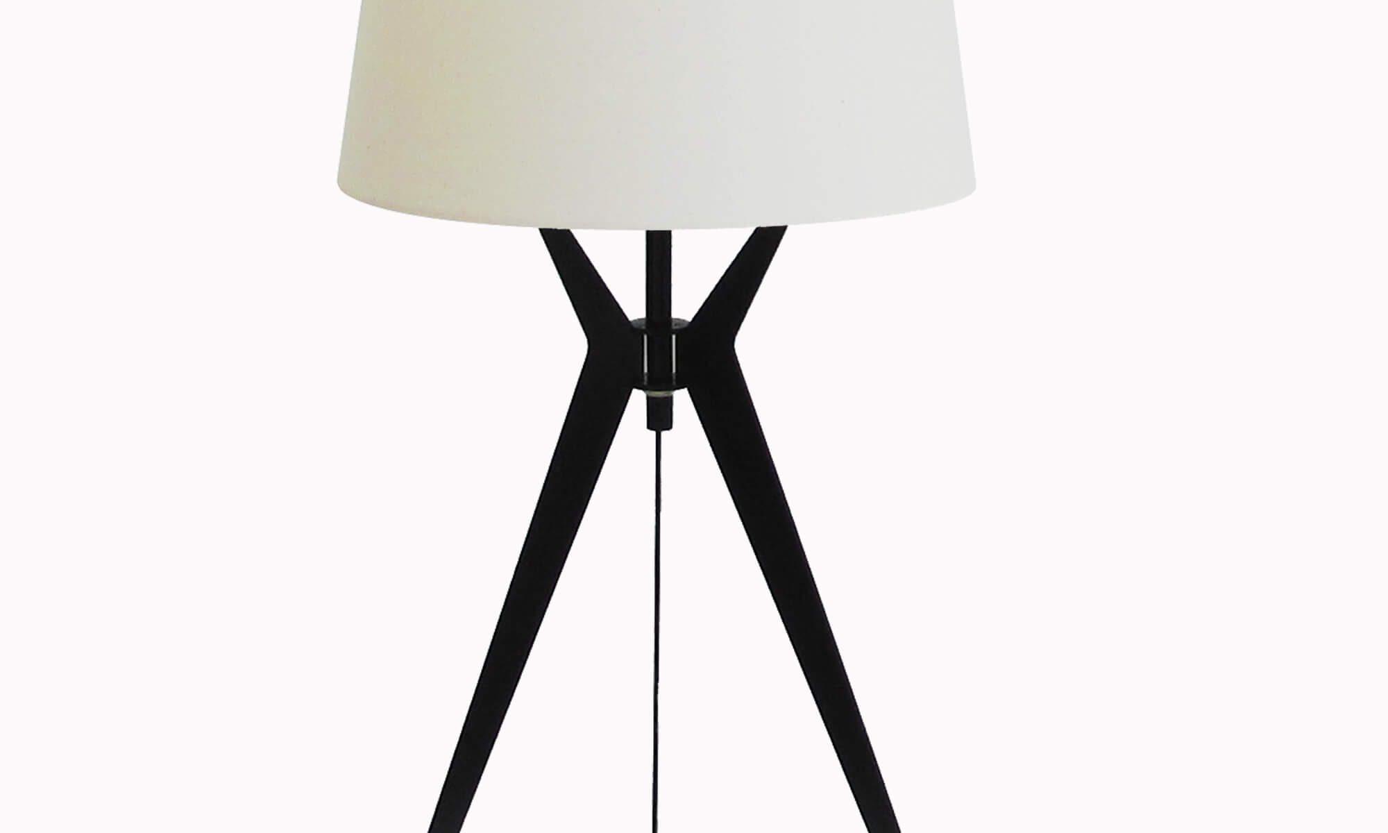 Đèn ngủ để bàn Resta chân đen, chụp trắng